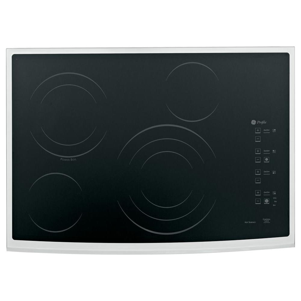 GE Profile 30 in. Glass Ceramic Radiant Electric Cooktop in Stainless Steel with 4 Elements