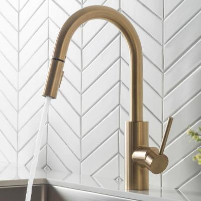 Oletto Single-Handle Pull-Down Sprayer Kitchen Faucet in Gold