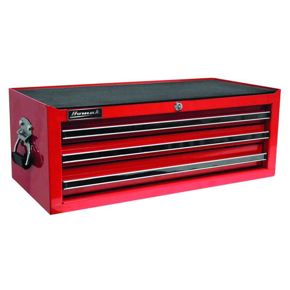 Homak Professional 27 in. 3-Drawer Mid Chest, Red