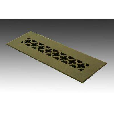 10 in. x 2.25 in. Oil Rubbed Bronze Poweder Coat Steel Floor Vent with Opposed Blade Damper