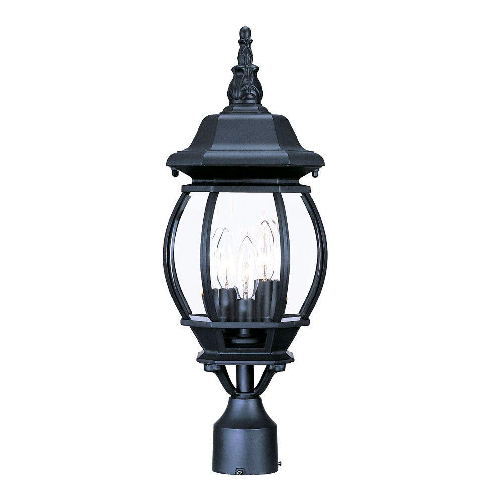 Acclaim Lighting Somerset 1 Light Matte Black Outdoor Post: Acclaim Lighting Chateau 3-Light Matte Black Outdoor Post