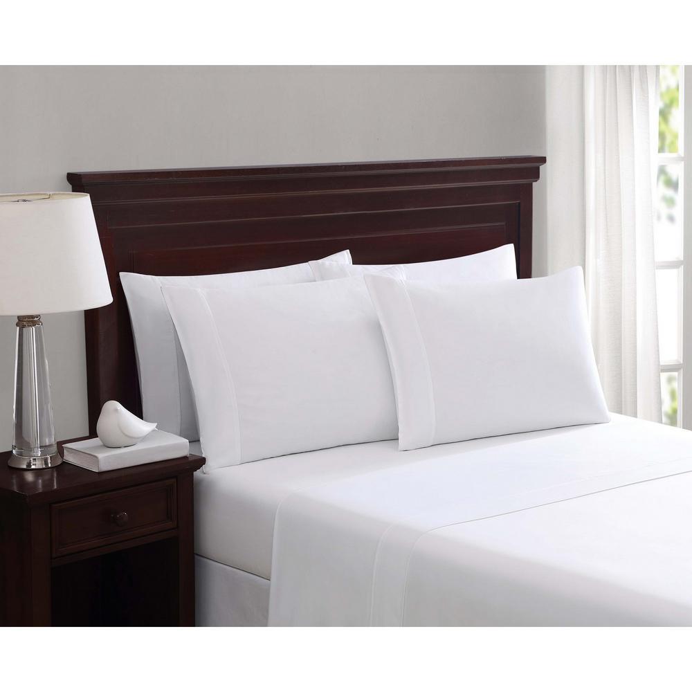 Everyday Cotton Blend Sheet Sets White 6-Piece Queen Sheet Set
