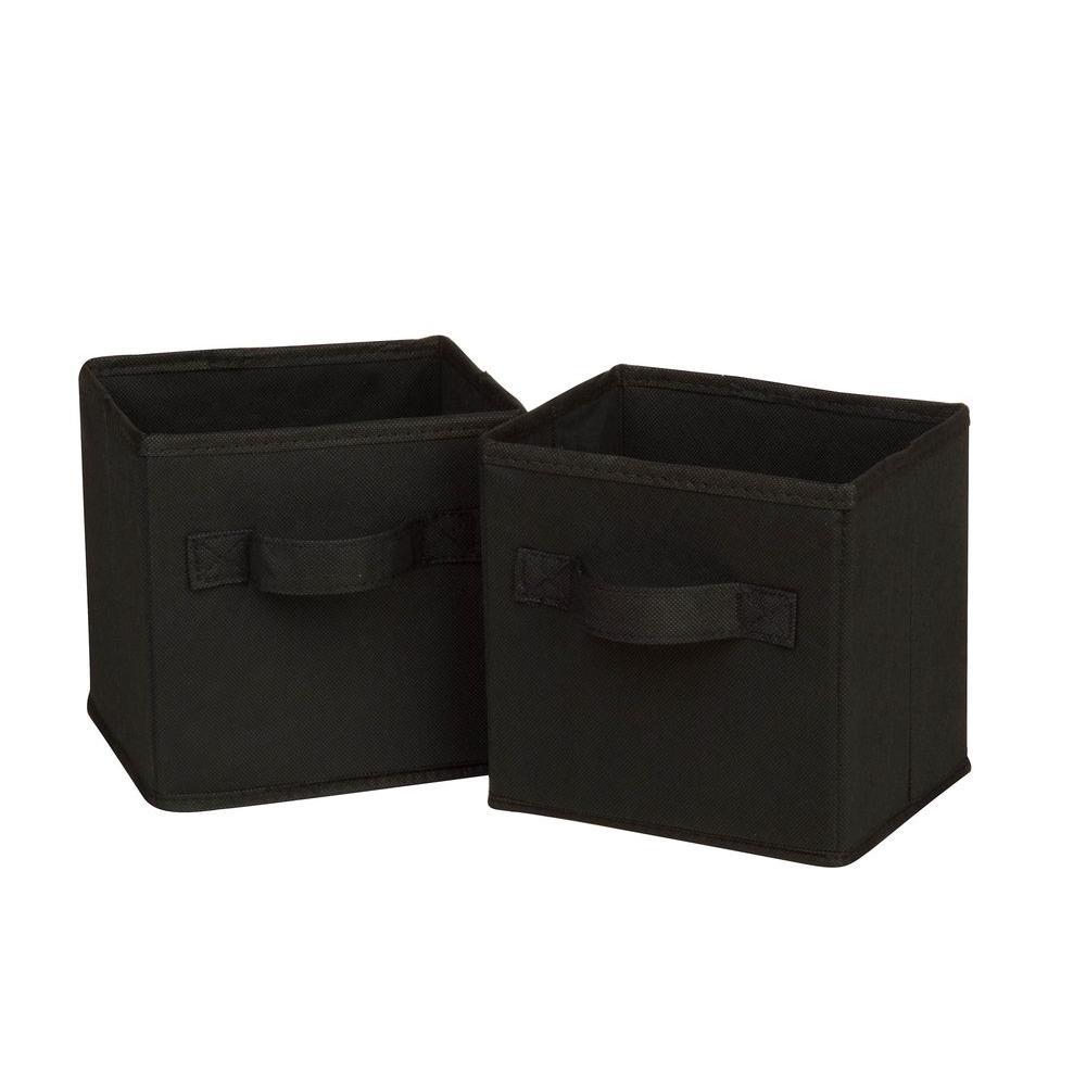 4.9 Qt. Mini Non-Woven Foldable Cube Bin Black (6-Pack)