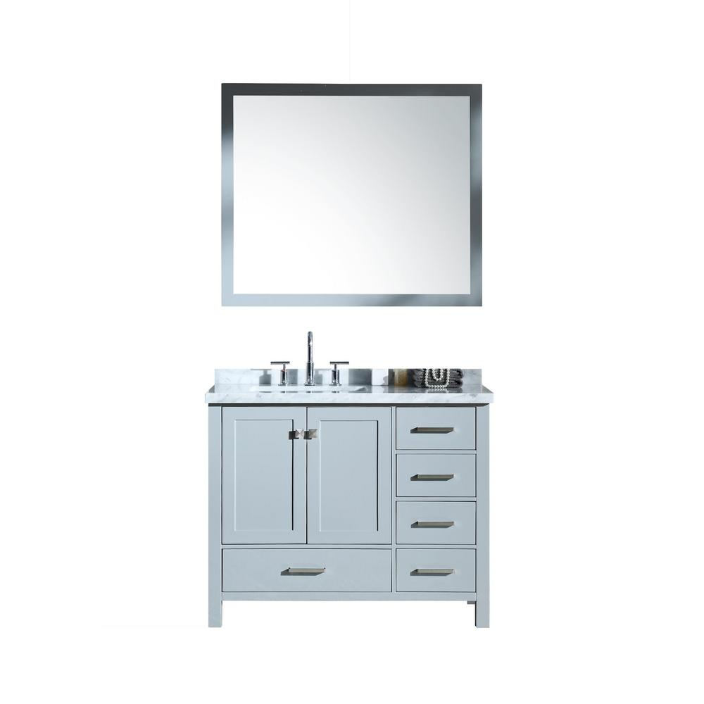 Ariel Cambridge 43 in. Bath Vanity in Grey with Marble Vanity Top in Carrara White with White Basins and Mirror
