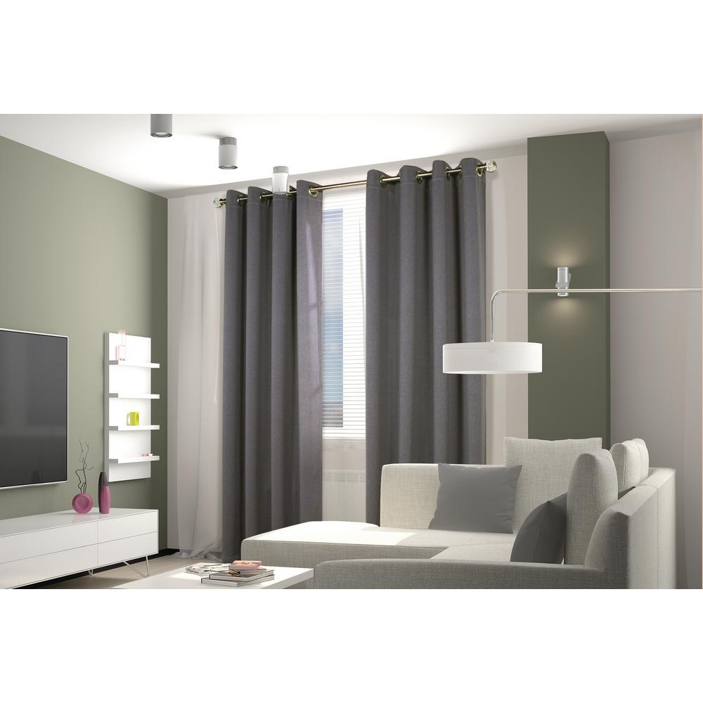 Belize Alloy Grey - 104 in. x 84 in. Grommet Panel Woven Blackout with Silver Clear Finish