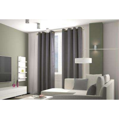 Belize 104 in. x 84 in. Grommet Panel Woven Blackout with Silver Clear in Alloy Grey