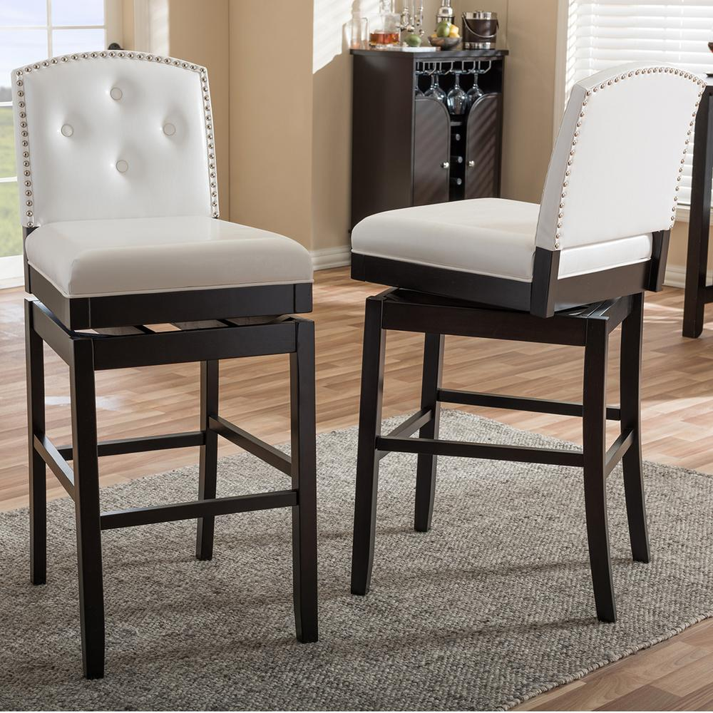 Baxton Studio Ginaro White Faux Leather Upholstered 2-Piece Bar Stool Set : faux leather bar stools brown - islam-shia.org