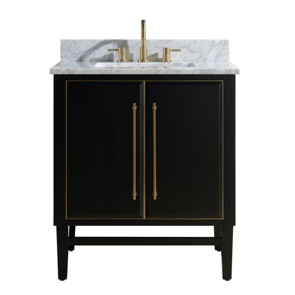 Bath Vanity In Black With Gold
