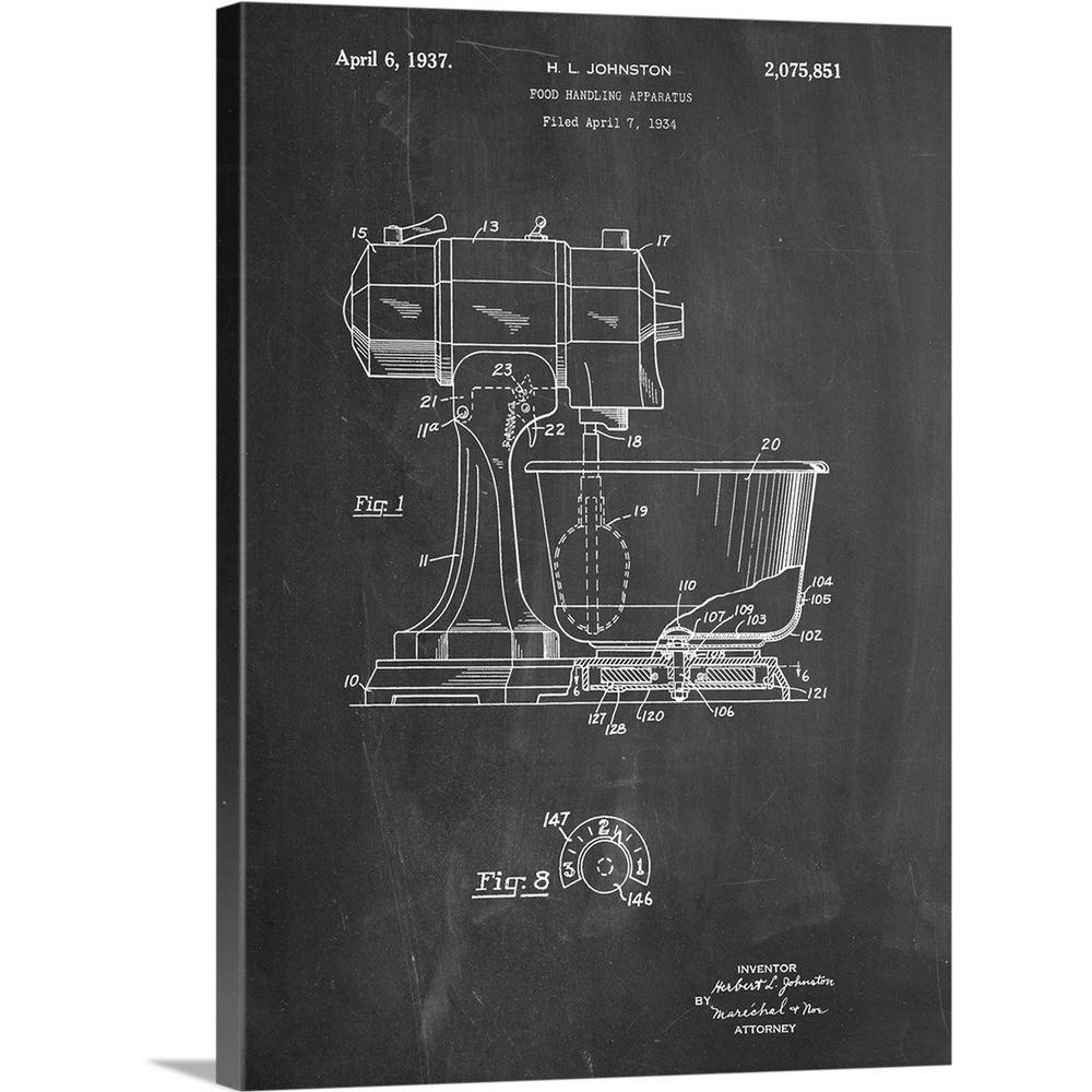 GreatBigCanvas  Kitchen Mixer by Cole Borders Canvas Wall Art, Multi-Color Premium Thick-Wrap Canvas entitled Kitchen Mixer. Black and white diagram showing the parts of a stand mixer. Our proprietary canvas provides a classic and distinctive texture. It is acid free and specially developed for our giclee print platforms. Each print is produced with our own archival UV quality inks supporting a vibrant color gamut, while being scratch and fade resistant. Each premium canvas gallery wrap is finished with a closed back preventing dust collection inside the back of the wrap. The back includes a pre-installed, ready-to-hang sawtooth hardware. Color: Multi-Color.