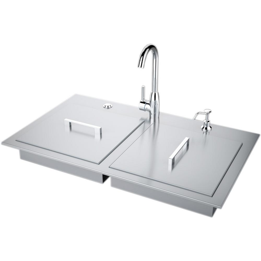 Sunstone 37 in. Stainless Steel Double Sink with Built-In Covers and Hot/Cold Faucet ADA Compliant