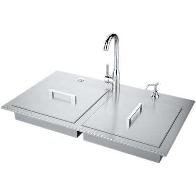 37 in. Stainless Steel Double Sink with Built-In Covers and Hot/Cold Faucet ADA Compliant