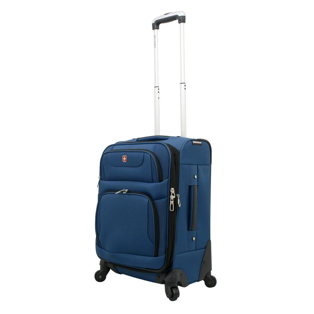 20 in. Blue and Black Spinner Suitcase
