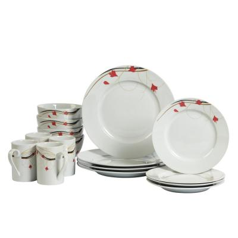 Dinner Set 16-Piece White and Floral Pattern Dinnerware Set Kara