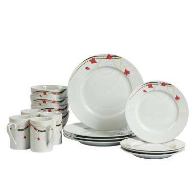 Dinner Set 16-Piece White and Floral Pattern Dinnerware Set Kara