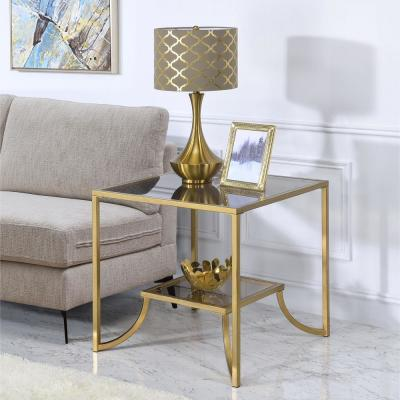 Magalie Antique Gold and Glass End Table