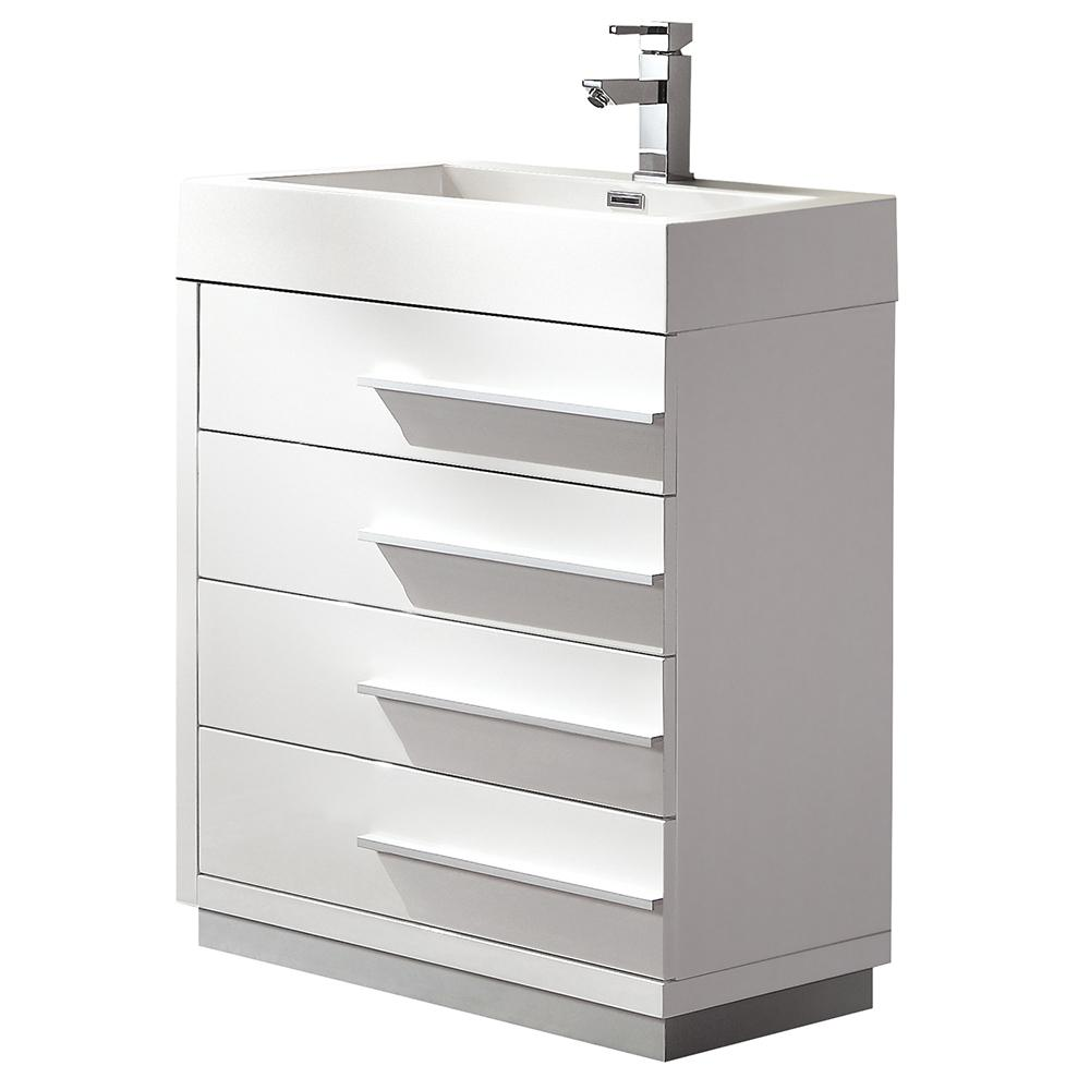Fresca Livello 24 in. Bath Vanity in White with Acrylic Vanity Top in White with White Basin