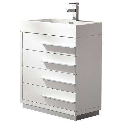 Livello 24 in. Bath Vanity in White with Acrylic Vanity Top in White with White Basin
