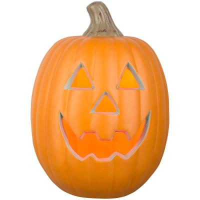 12 in. Orange Lighted Blow Mold Jack-O-Lantern Happy
