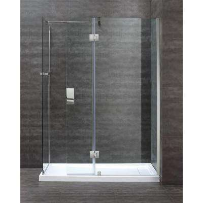 OVE Nevis 60 in. W x 78.75 in. H Frameless Pivot Shower Door in Chrome without Base