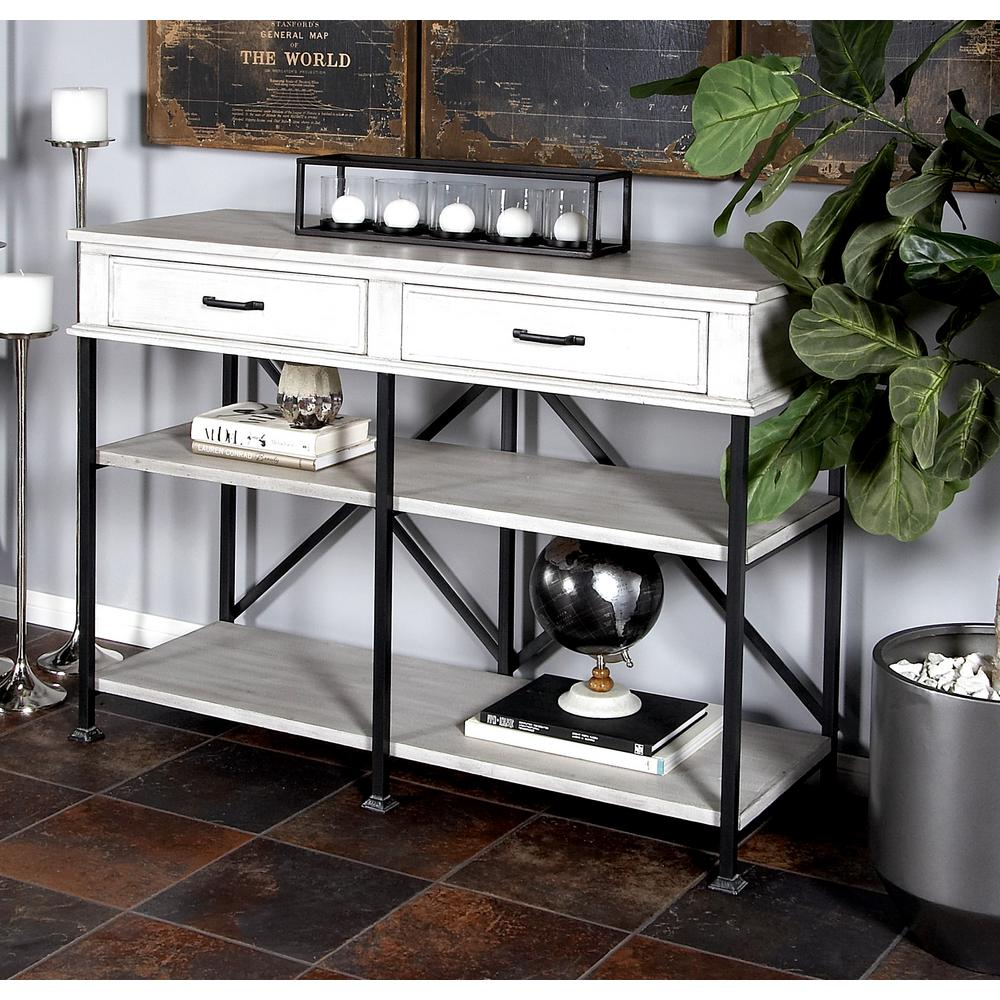 White Multipurpose Console with 2-Drawers and 2-Shelves