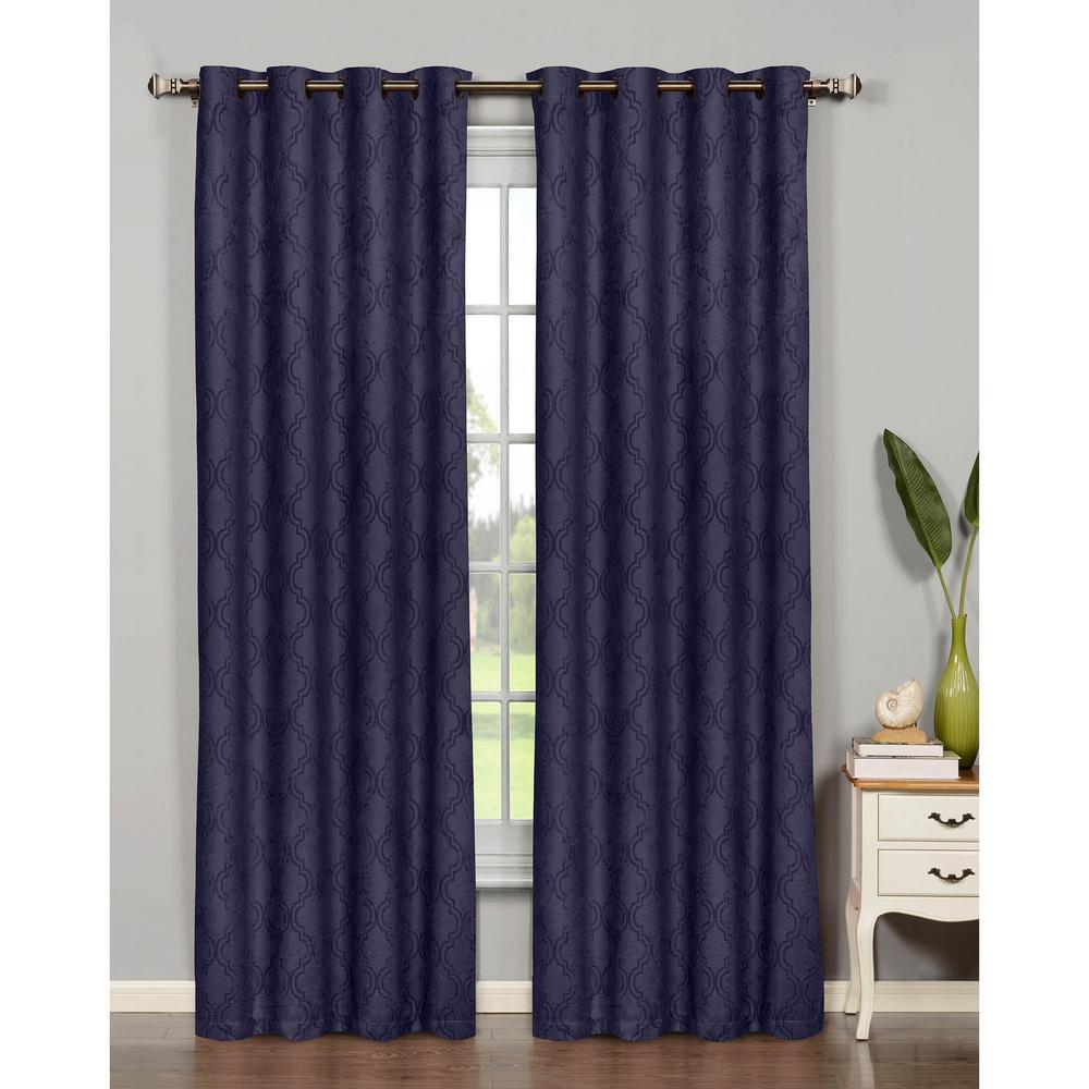 Bella Luna Semi-Opaque Newbury Lattice 84 in. L Room Darkening Grommet Curtain Panel Pair, Indigo (Set of 2)