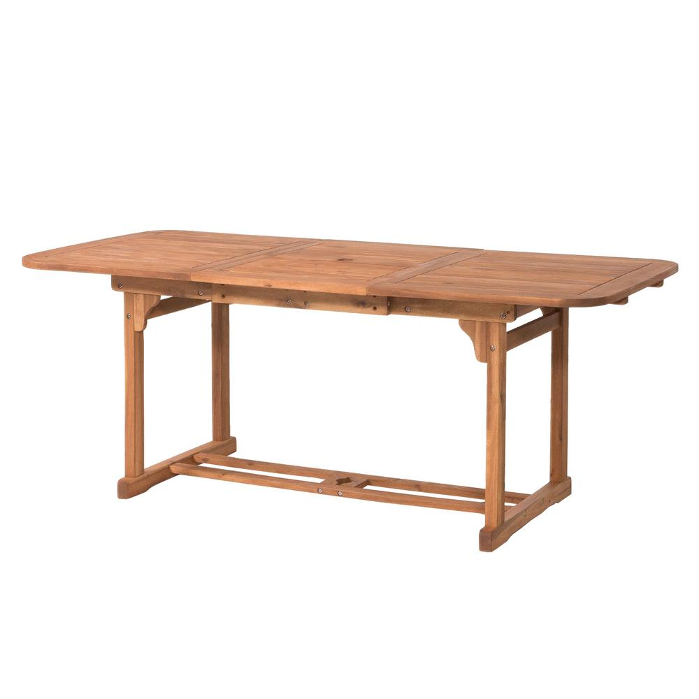 Walker Edison Furniture Company Boardwalk Brown Acacia Wood Extendable  Outdoor Dining Table