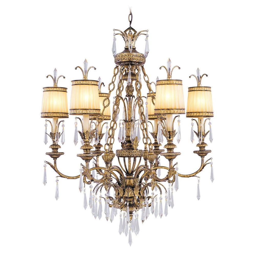 6-Light Vintage Gold Leaf Incandescent Ceiling Chandelier