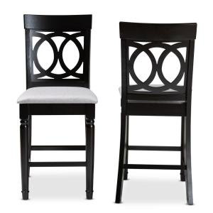Verina 43 in. Gray and Espresso Counter Stool (Set of 2)