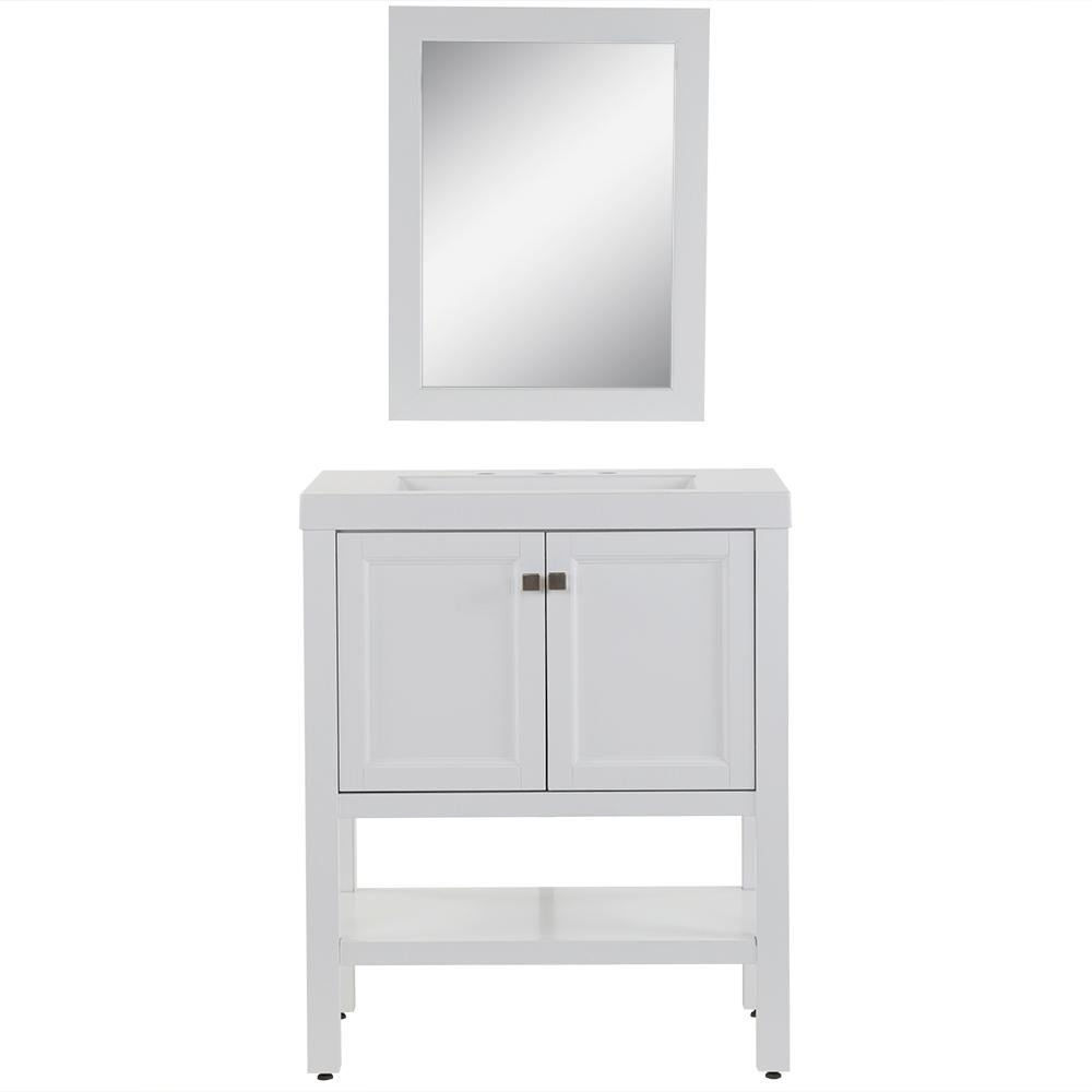 Home Decorators Collection Hillworth 30.5 in. W Bath Vanity in White with Cultured Marble Vanity Top in White with White Basin and Mirror
