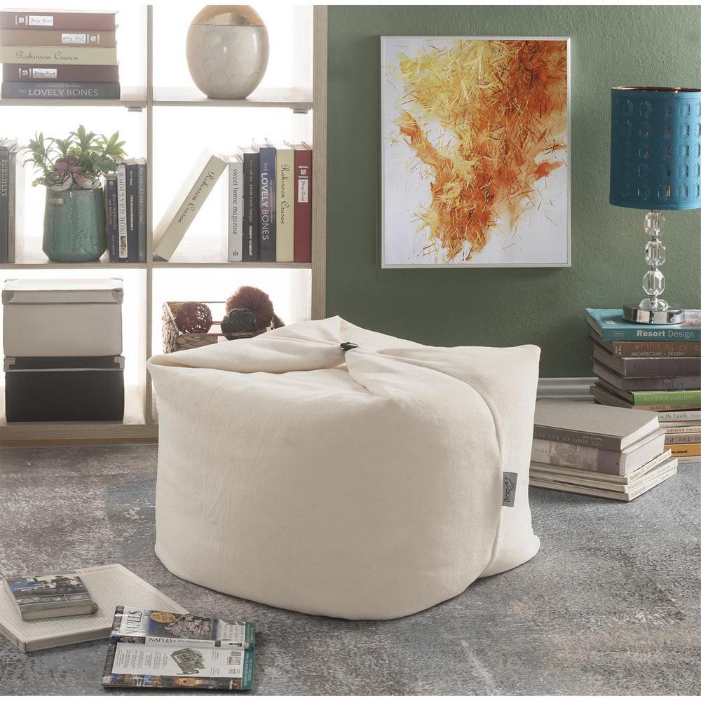 Loungie Magic Pouf Beige Microplush Bean Bag Chair Convertible Ottoman/Floor
