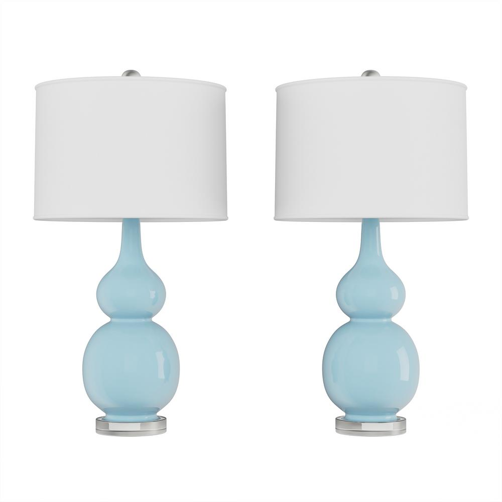 Lavish Home 26.25 in. Double Gourd Ceramic Spa Blue LED Table Lamps with Ivory Shades (Set of 2)