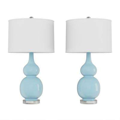 26.25 in. Double Gourd Ceramic Spa Blue LED Table Lamps with Ivory Shades (Set of 2)
