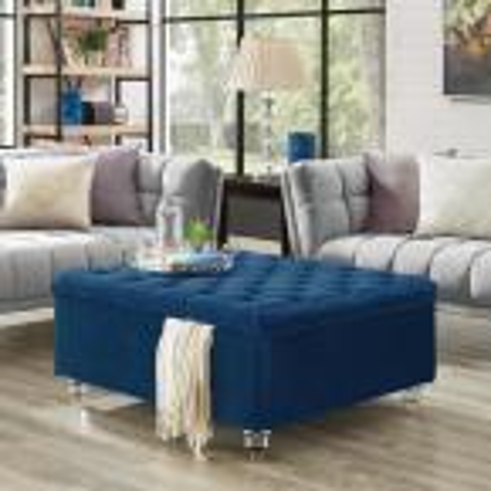 Saige Blue Velvet Tufted Square Acrylic Leg Cocktail Table Storage Ottoman