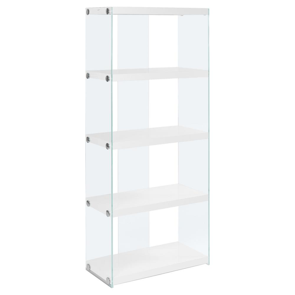 Glossy White with Tempered Glass Etagere