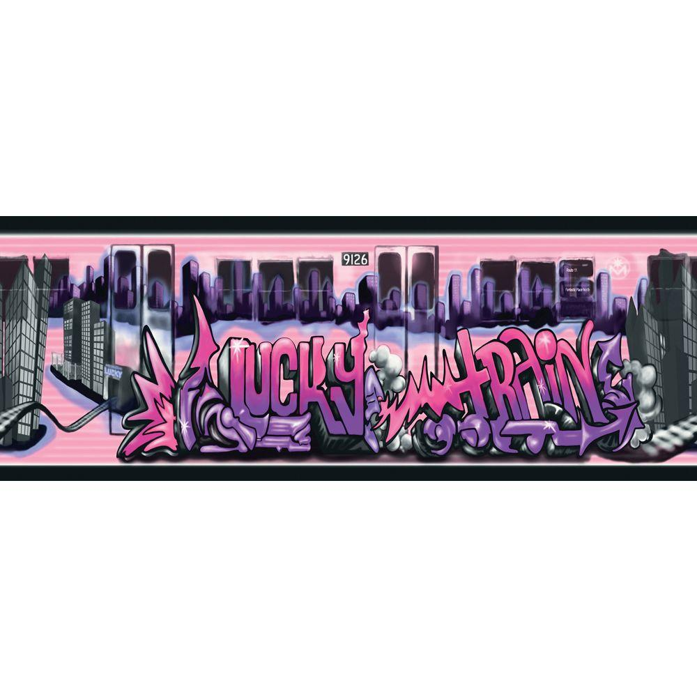 The Wallpaper Company 10.25 in. x 15 ft. Pink and Purple Lucky Train Border