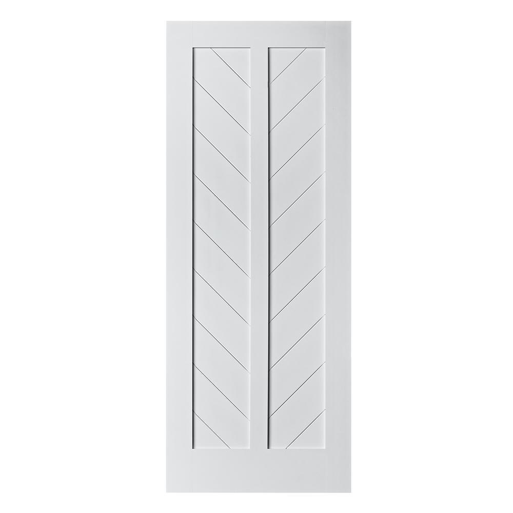 33 in. x 84 in. Chevron MDF Primed White Interior Barn Door Slab