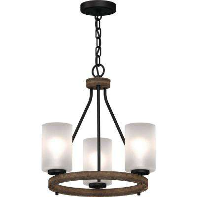 Emery 3-Light Walnut and Black Indoor Mini Hanging Chandelier with Frosted Glass Cylinder Shades