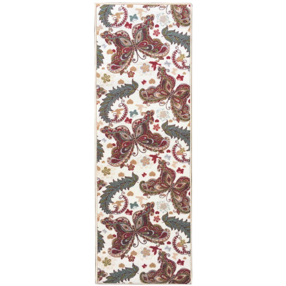 Sweet Home Collection Butterfly Design Cream 1 ft. 8 in. x