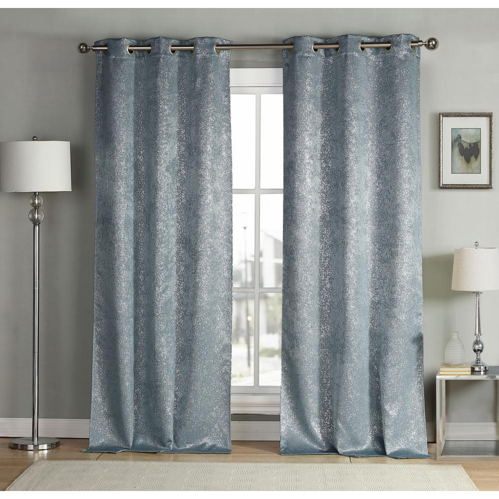 Kensie Solid Slate Blue Polyester Blackout Grommet Window Curtain