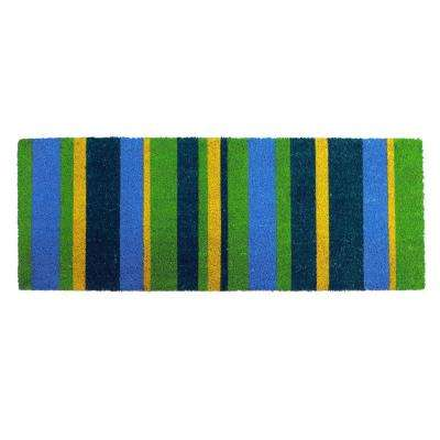 PVC Backed Coir Mat, Green Stripes, 48 in. x 18 in. Natural Coconut Husk Doormat