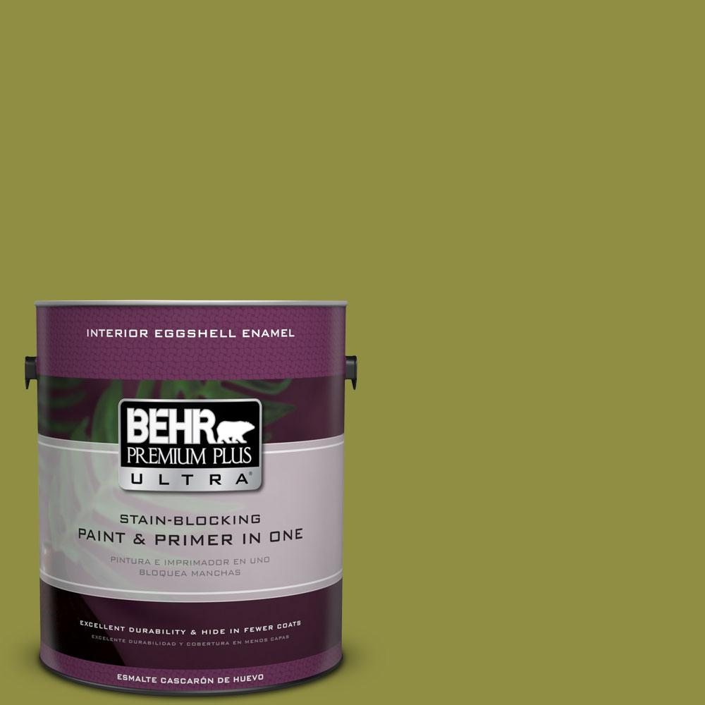 BEHR Premium Plus Ultra 1-Gal. #PPU9-3 Retro Avocado Eggshell Enamel Interior Paint