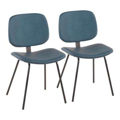 Black Metal Industrial Nunzio Chair with Blue Faux Leather (Set of 2)