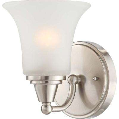 Dejo 1-Light Brushed Nickel Bath Vanity Light with Frosted Glass