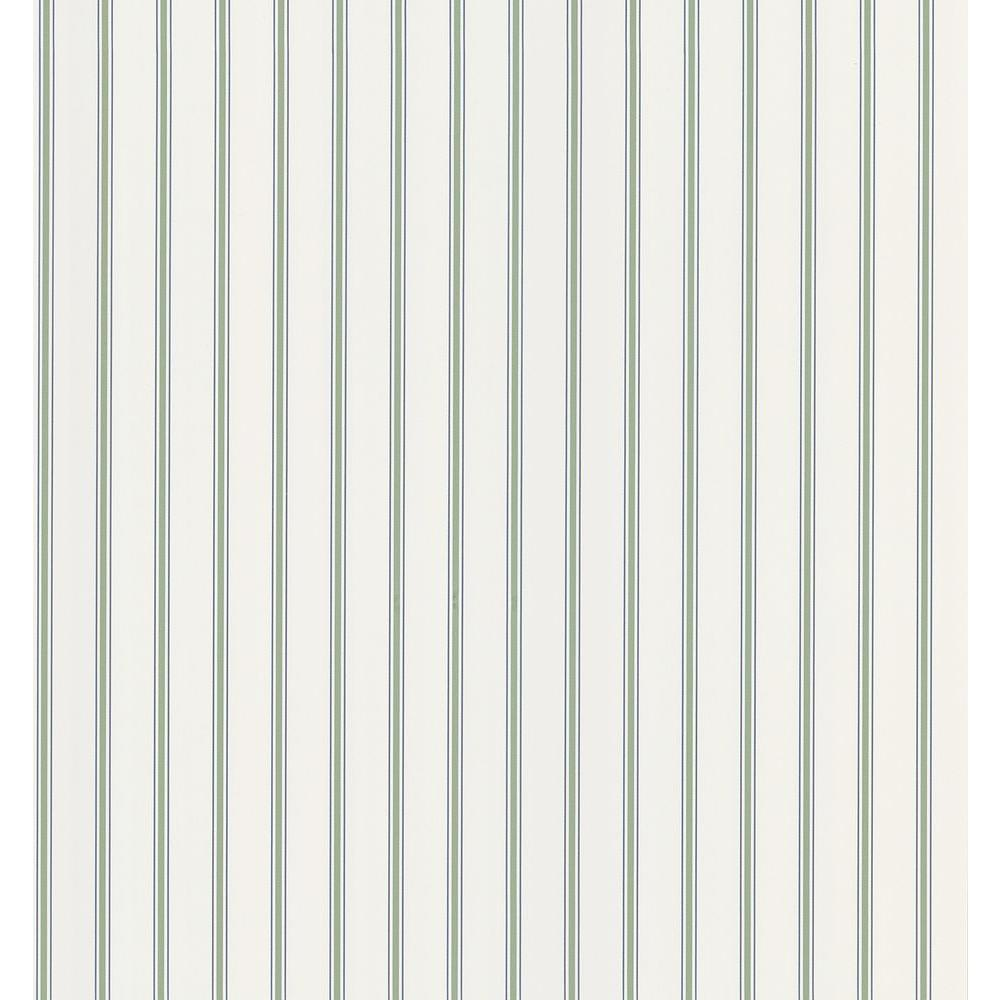 Cottage Living Green Pinstripe Wallpaper Sample