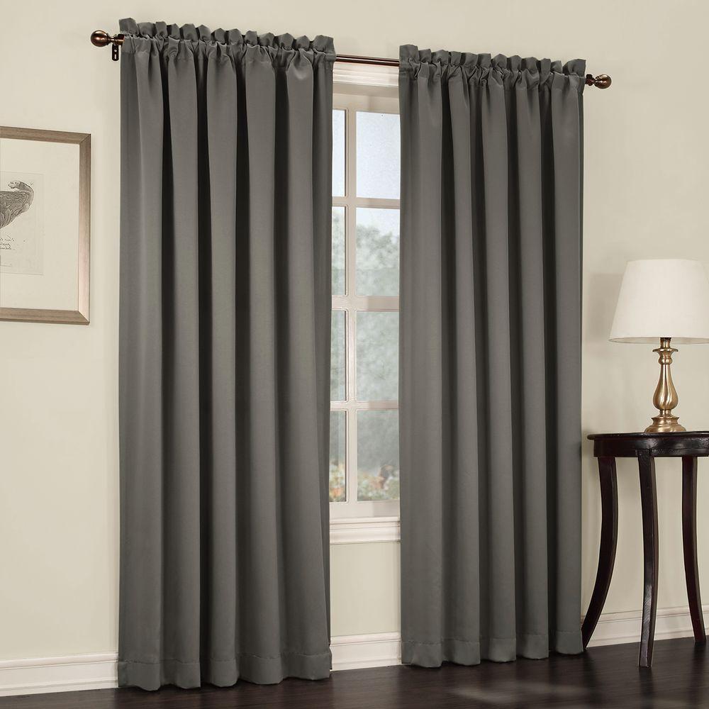 Sun Zero Semi-Opaque Steel Gregory Room Darkening Pole Top Curtain Panel, 54 in. W x 84 in. L