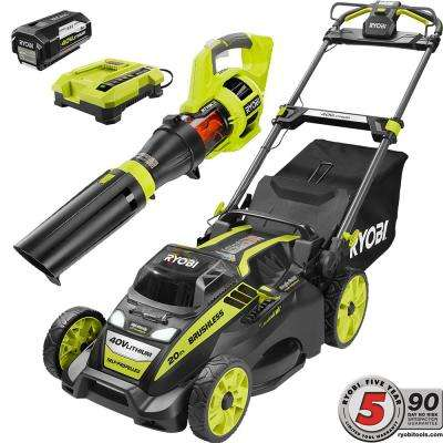20 in. 40-Volt Cordless Lithium-Ion Self-Propelled Mower/Jet Fan Leaf Blower Combo Kit 5.0 Ah Battery/Charger Included