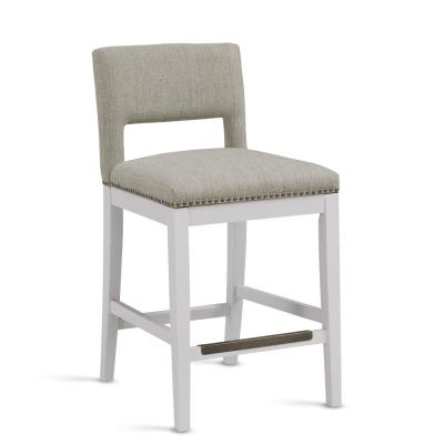 Rowell 25 in. White Cushioned Counter Stool