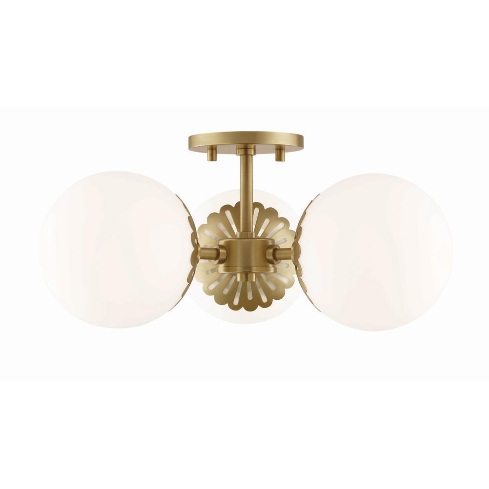 Paige 3-Light Aged Brass Semi-Flushmount with Opal Matte Glass Shade
