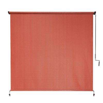 Terracotta Cordless UV Blocking Fade Resistant Polypropylene Exterior Roller Shade 72 in. W x 72 in. L