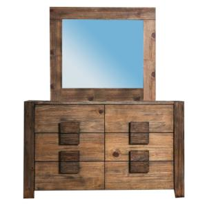 Aveiro Dresser and Mirror in Rustic Natural Tone Finish